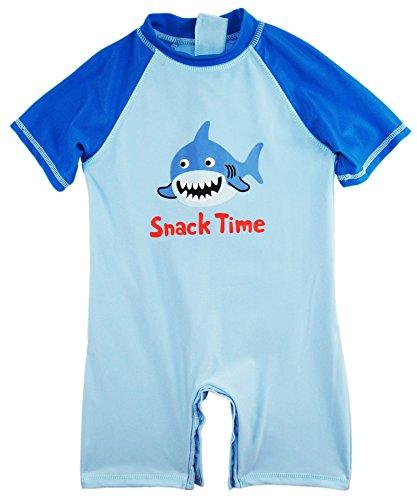 Sweet & Soft Baby Boys Swimwear Animal Print Shark 1-Piece Rashguard Sunsuit, Ocean Blue, 24 Months