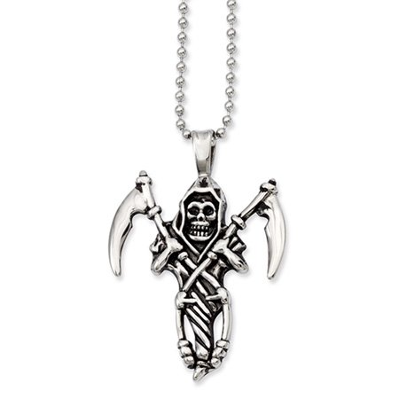 Stainless Steel Antiqued Skeleton w/Blades Necklace 22 Inch