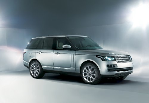 """Land Rover Range Rover (2013) Car Art Poster Print On 10 Mil Archival Satin Paper Studio Silver Front Side View 36""""X24"""""""