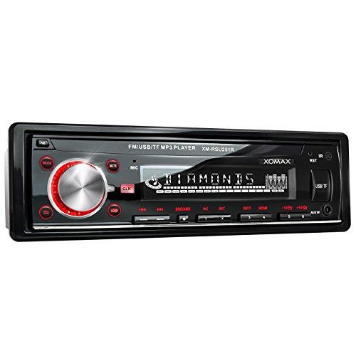 XOMAX-XM-RSU251R-Autoradio-USB-Anschluss-bis-32-GB-Micro-SD-Kartenslot-bis-32-GB-fr-MP3-und-WMA-Beleuchtungsfarbe-rot-AUX-IN-Verkrzte-Einbautiefe-Single-DIN-1-DIN-Standard-Einbaugre-inkl-Einbaurahmen-
