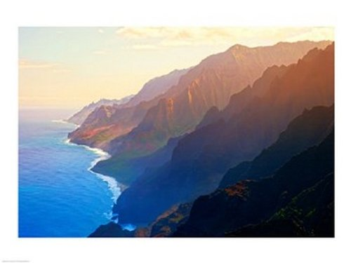 Mountain range at sunrise, Na Pali Coast, Kauai, Hawaii, USA Poster Kunstdruck (24 x 18)