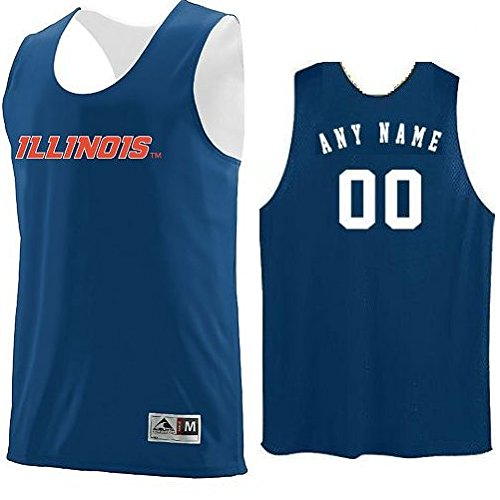 Illinois Fighting Illini CUSTOM (Name/#) or Blank Back Reverisble Basketball Jersey NCAA Officially Licensed Youth & Adult Tank Tops