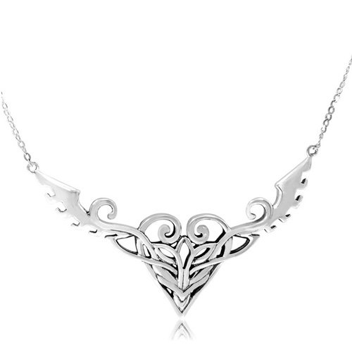Sterling Silver Celtic Filigree Heart Necklace, 20.5