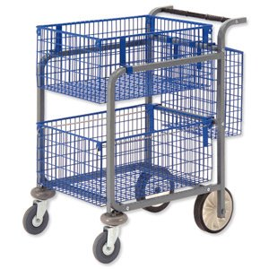 Versapak Minor Plus Mail Trolley 2 Front Baskets and Rear Pannier W584xD788xH914mm Silver Ref MT3-SIL