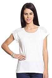 Women White T-Shirt With Lace Yoke