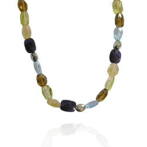 Multi Gemstone Fancy-Shaped 10x14mm Bead Necklace, 35