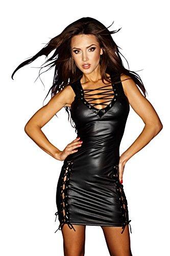 Sexy ärmelloses Glanz Wetlook Minikleid mit Schnürung