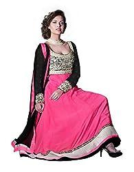 Nirali Womens Georgette Pink Salwar Kameez, Semi-Stitched