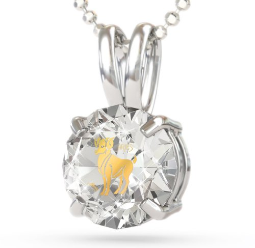 Silver Aries Necklace: This Zodiac Necklace has Inscriptions of 24kt Gold on CZ. Crystal Color