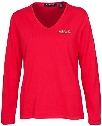 Oxford NCAA Maryland Terrapins Ladies Carson V-Neck Sweater, Cardinal, Extra Large by Oxford