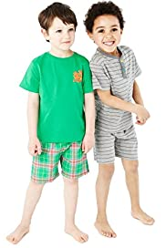 2 Pack Cotton Rich Assorted Short Pyjamas