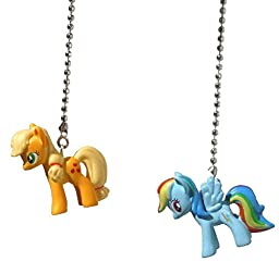 Set of 2 My Little Pony Decorative Ceiling Fan Light Pulls (Rainbow Dash and Apple Jack)