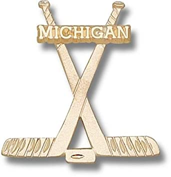 Michigan Wolverines Michigan Hockey Sticks Pendant - 14KT Gold Jewelry by Logo Art