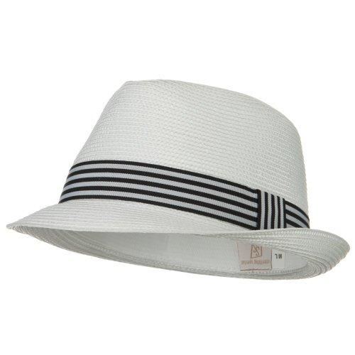 Lowest Price Stripe Band Straw Fedora - White W20S60E Discount Review Store a6e18d72c46