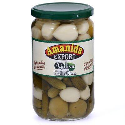 AjOliva Mix - Green Olives, Pepinillos, and Sweet Garlic (Gourmet,Hot Paella,Gourmet Food,Fruits & Vegetables,Vegetables,Olives)