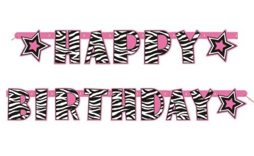 Pink Zebra Happy Birthday Banner by Unique Industries - 1