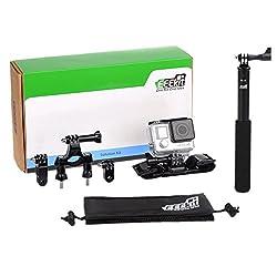 EEEKit 3-in-1 Cycling Solution Kit for GoPro HERO4 Black/Silver Session HERO, LCD HERO 4/3+/3/2/1, Bike Handlebar/Seatpost/Pole Mount, Helmet Strap Belt Mount, Extention Selfie Stick Monopod Pole Mount