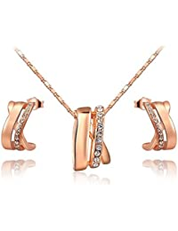 Carina 18 K Rose Gold Plated Swarovski Elements Crystal Pendant And Earring Set With Chain For Women / Girls
