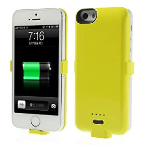 JUJEO for iPhone 5s 5c 5 3200mAh External Battery Backup Power Charger Case - Retail Packaging - Yellow