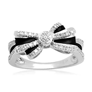 Elegant Silver & Black Double Bow Ring with diamonds