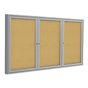 Ghent 48 x 72 Inches 3-Door Satin Aluminum Frame Enclosed Tackboard, Natural Cork (PA34872K)