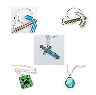 Minecraft Ultimate Bundle Metal Diamond Pickaxe Keychain Steve Pickaxe Keychain Diamond Sword Keychain Creeper Pendant Necklace And Diamond Pendant Necklace Set Of 5 by Unknown