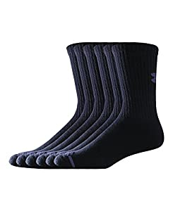 Under Armour Men's Charged Cotton Crew Socks (Pack of 6), Black, Large