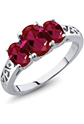 2.15 Ct Oval Red Created Ruby 925 Sterling Silver Ring