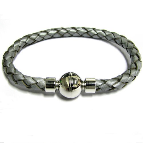 Stainless Steel Grey Braided Bolo Leather Cord 5.7mm Magnetic Wrist Round Bracelet 8''