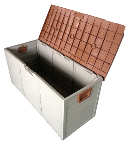 Brown Outdoor Garden Plastic Storage Utility Chest Cushion Shed Box With Lid and Wheels Case Container New 250L Liter