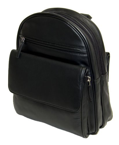 Visconti Leather Rucksack Front Pocket Organiser 01433, Black