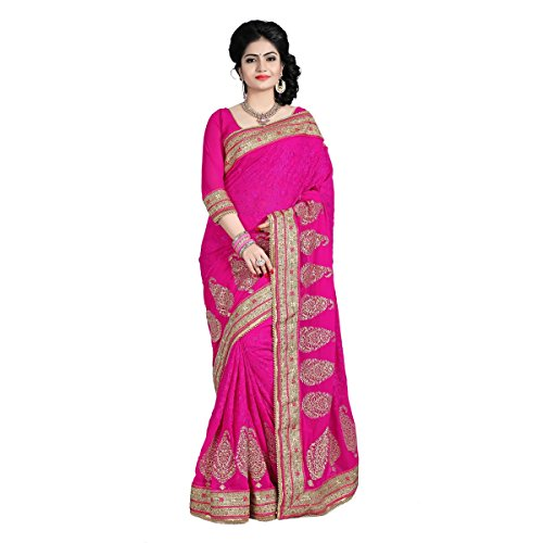 Aagaman-Fashion-Faux-Georgette-Sarees-TSAMK3098CMagenta