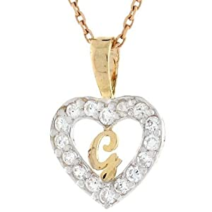 9ct Gold Letter  g  CZ Initial  G Letter In Heart