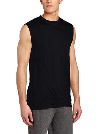 Russell Athletic Men's Fashion Performance Sleeveless Tee, Black/Terra Cotta, XX-Large