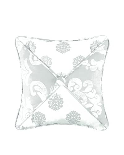 Providence Throw Pillow With Button, Grey/White