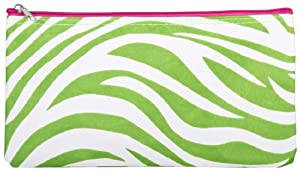Green Pink Zebra Makeup Brush Bag by Private Label