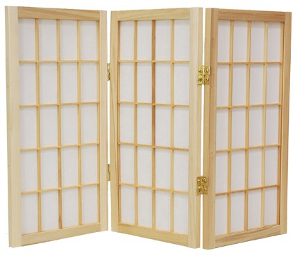 "Small Folding Japanese Window Shade Blind 2ft. (24"") Tall Window Pane Desktop Shoji Privacy Screen - 3 Panel Natural"