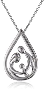 Sterling Silver Parents and Child Family Drop Pendant Necklace, 18""