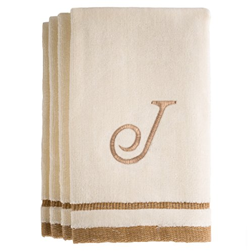 Monogrammed Gifts, Fingertip Towels, 11 x 18 Inches - Set of 4- Decorative Golden Brown Embroidered Towel - Extra Absorbent 100% Cotton- Personalized Gift- For Bathroom/ Kitchen- Initial J (Ivory) (Cleveland Hotel In Miami Beach compare prices)