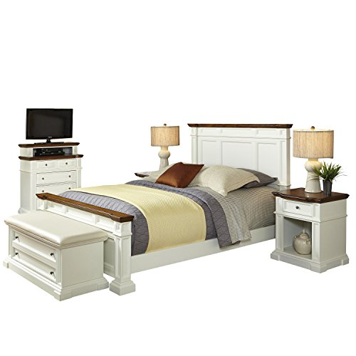 Home Styles 5002-6030 Americana King Bed, Two Night Stands, Media Chest and Upholstered Bench, White and Distressed Oak