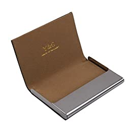 Brown business card case fashion gift Black Stainl?ess Steel Y&G leather card case with gift box CC1002