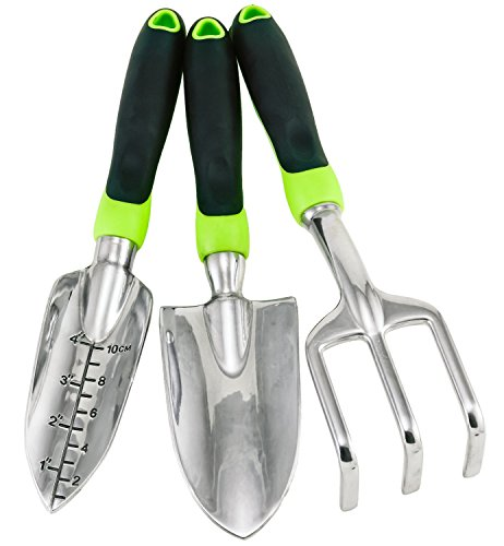 Gardening tool set 3 pc trowel transplanter cultivator for Ladies garden trowel set
