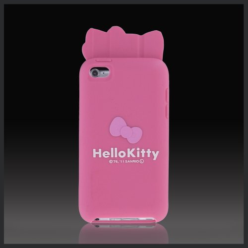 Pink Hello Kitty w Ears & Bow Flexa silicone case cover for Apple iPod Touch 4 4G (Bow color may vary)