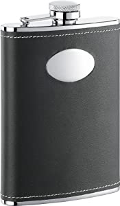 "Visol ""Eclipse Z"" Leather Stainless Steel Flask, 8-Ounce, Black"