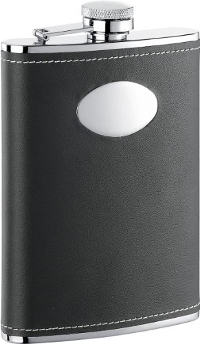 """Visol """"Eclipse Z"""" Leather Stainless Steel Flask, 8-Ounce, Black"""