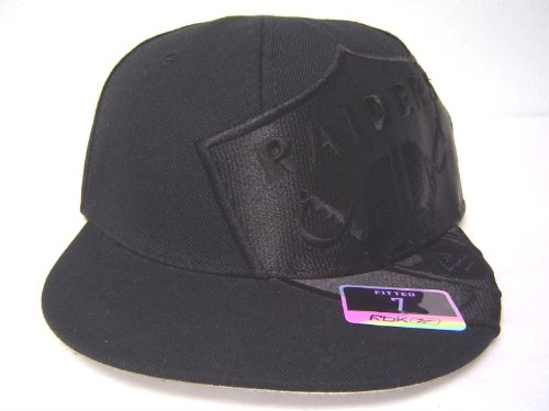Size 7 5 8 NFL Oakland Raiders Black Flat Bill Fitted Cap with ... 6e2135ff0
