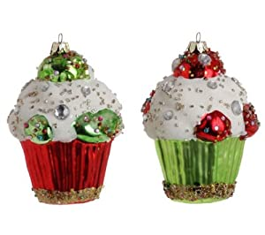 Set of 2 Red & Green Cupcake Christmas Ornaments with Beads and Faux Crystals, 4.5 Inches