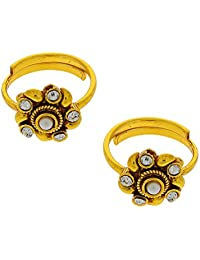 Anuradha Art Golden Colored Toe-Rings Style With Studded Stone For Women - B01EG08ZLA