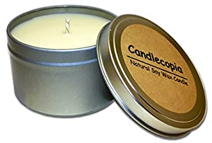 Candlecopia Vanilla Hazelnut Scented Soy Candle - A mouthwatering blend of toasted hazelnuts and creamy vanilla - 55 Hours Burn Time in 8-ounce Tin by Candlecopia