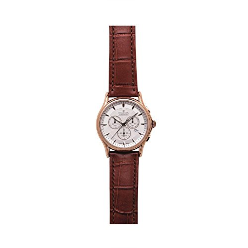 Charmex Silverstone 2675 42mm Stainless Steel Case Brown Calfskin Synthetic Sapphire Men's Watch